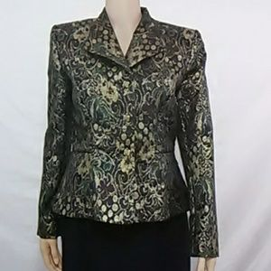 Don Caster Tapestry Gold Metallic Holiday Jacket 6